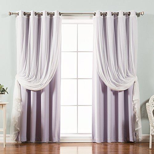 Best Home Fashion Mix & Match Tulle Sheer Lace & Blackout Curtain Set - Antique Bronze Grommet Top - Lilac - 52
