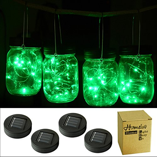 Homeleo 4 Pack Green Watertight Solar Mason Jar Light Lid LED String Fairy Light for Regular Mouth(Jars NOT Included)