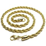 Stainless Steel Necklaces, Men's Pendant Necklace Cord Rope Gold 5Mm 2026 Inch