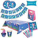 Mermaid Party Supplies Set – Serves 16 Guests – Girls Birthday Decorations for Kids – Disposable Table Cover, Plates, Cups, Wrappers, Toppers, Napkins, Tableware & Happy Birthday Banner – by PARTY TYKES