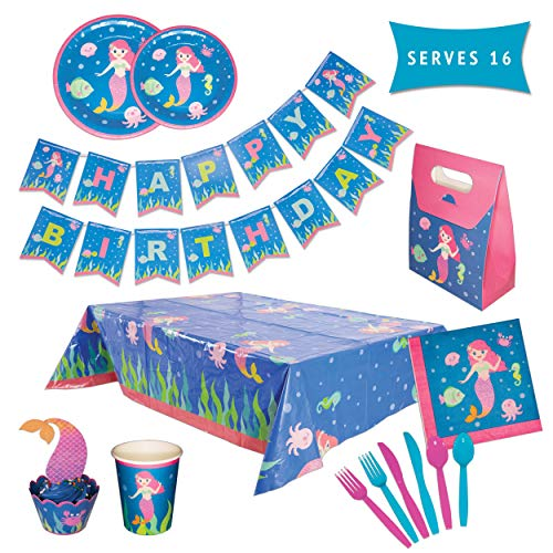 - Mermaid Party Supplies Set – Serves 16 Guests – Girls Birthday Decorations for Kids – Disposable Table Cover, Plates, Cups, Wrappers, Toppers, Napkins, Tableware & Happy Birthday Banner – by PARTY TYKES
