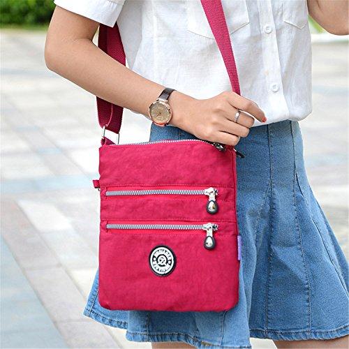 Tiny Chou MULTILAYER Reißverschluss Taschen wasserabweisend Nylon Stoff Umhängetasche Schultertasche für Mädchen Marineblau 1S3xxWt