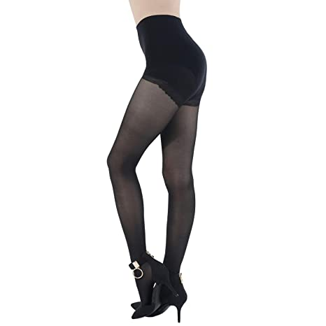 532cfce7c8d WEANMIX Women s Silk Sheer Pantyhose Control Top Stockings Black Tights 40  Denier at Amazon Women s Clothing store