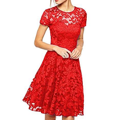 Eliffete Short Red Homecoming Party Casual Dresses Lace Vintage Gowns for Women -