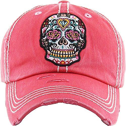 Women's Sugar Skull Distressed Vintage Baseball Hat (Pink)