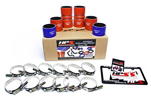HPS 57-1539 Blue and Orange High Temp Reinforced Silicone Intercooler Turbo Hose Boot Kit with T Bolt Clamp by HPS (Image #1)