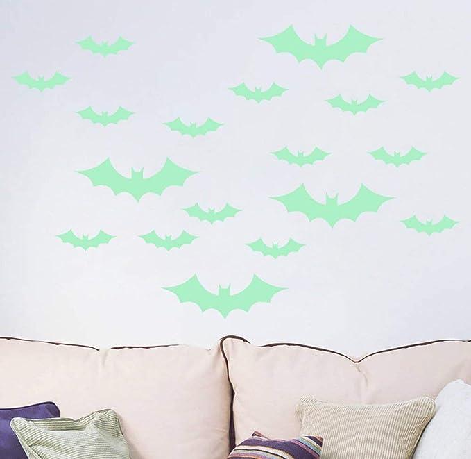 Sunfar 18PCS Luminous Bats Stickers 18pcs Luminous Bats Glowing Bats Stickers for Windows Decor Door Kids Bedroom