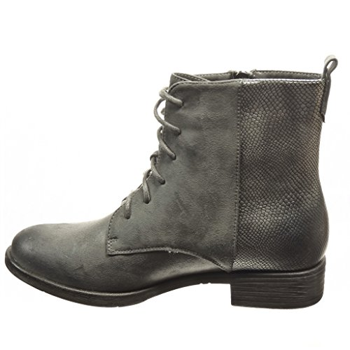CM Booty Heel boots Angkorly Block Women's Fashion 3 zip boots Grey Ankle Shoes snakeskin combat XXOHwq
