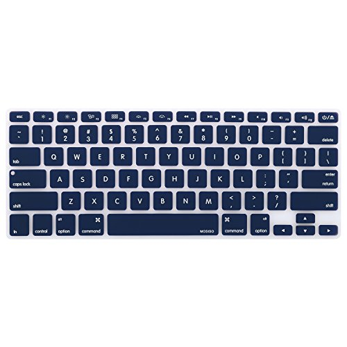 MOSISO Keyboard Cover Silicone Skin Compatible MacBook Pro 13 Inch, 15 Inch (with or Without Retina Display, 2015 or Older Version) MacBook Air 13 Inch, Dark Navy