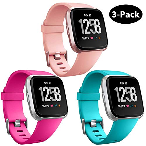 - GEAK Replacement for Fitbit Versa Bands & Fitbit Versa Lite Bands 3 Pack,Soft Adjustable Waterproof Wristband Compatible Fitbit Versa Lite SE for Women Men,Small Peach/Rose/Teal