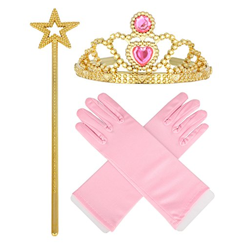[3-8 Princess Tiara Star Wand Yellow Pink Glove set] (Ups Package Costume)