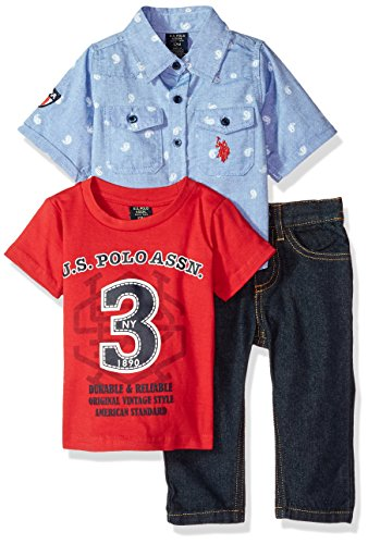 U.S. Polo Assn. Baby Boys Short Sleeve Shirt, T-Shirt and Pant Set, Durable Reliable Vintage Style Multi Plaid, 18M