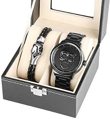 Reloj de pulsera de acero inoxidable con diseño de calavera y calavera en 3D, 30 m, resistente al agua, con cuerda de mano y calavera, para hombre, caja de regalo