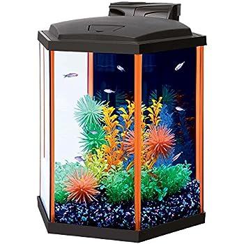 Aqueon neoglow led hexagon orange aquarium for Fish tank lights walmart