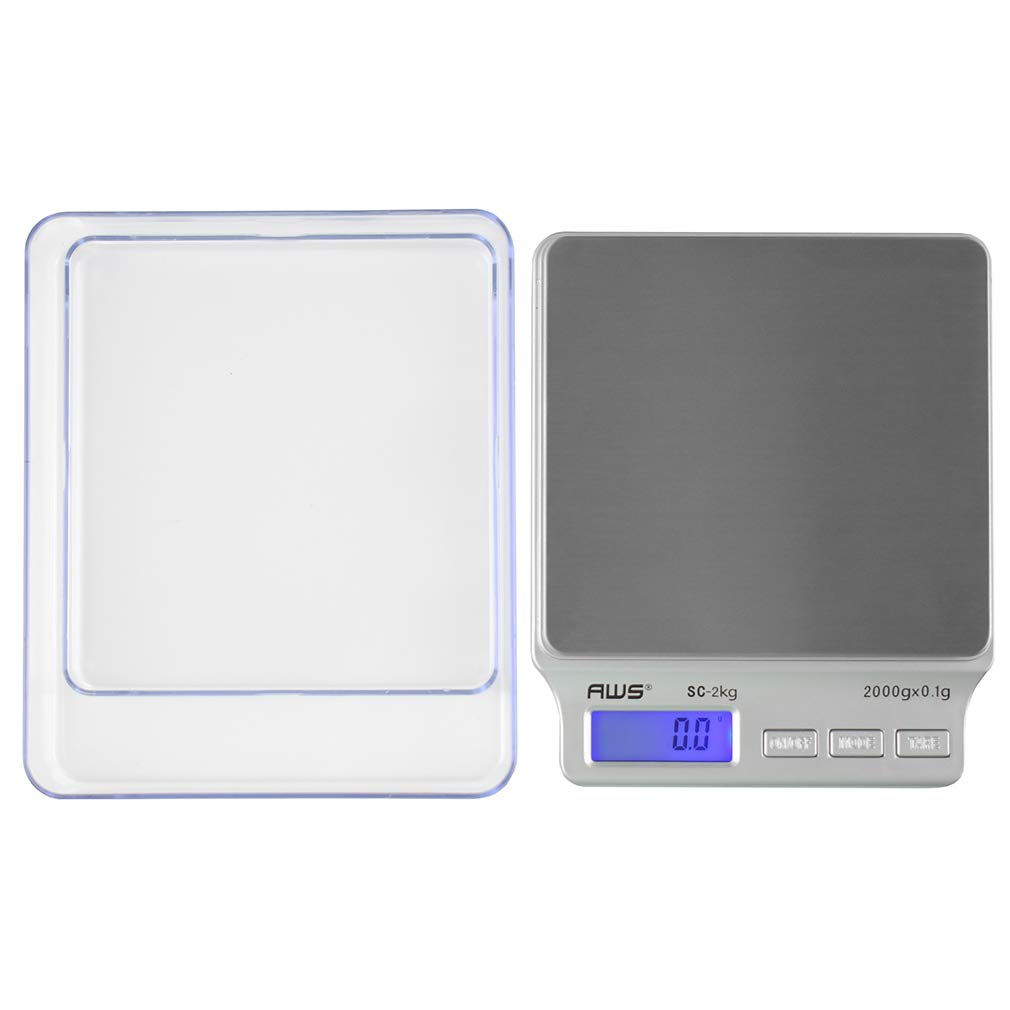 American Weigh Scales SC Series Precision Digital Food Kitchen Weight Scale, Silver, 2000 x 0.1G (AMW-SC-2KG) by AMERICAN WEIGH SCALES