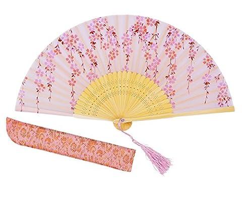 Meifan Chinese /Japanses Classical Handmade Vintage Folding Bamboo Silk Flower Pattern Hand Fan MFN (Pink)