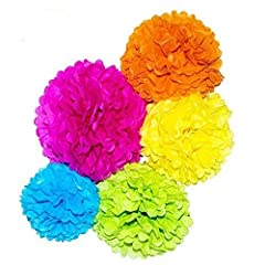 Description:Material:tissue paper Tissue Paper Pom-poms Flower Ball is passed FUNCTION tests, SMELL tests, INTERNAL tests, TOXIC testsColor: Blue, Pink, Green, Yellow, Orange,Size : approx 14in, 12in, 10in in diameterMulti-function supplies: ...