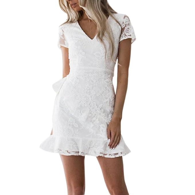 Spitzekleid Damen Weiß, Sunday Frauen V-Ausschnitt Solide Rüschen  Rückenbestickte Rüschensaum Spitze Kurzarm Minikleid 80b5405c06