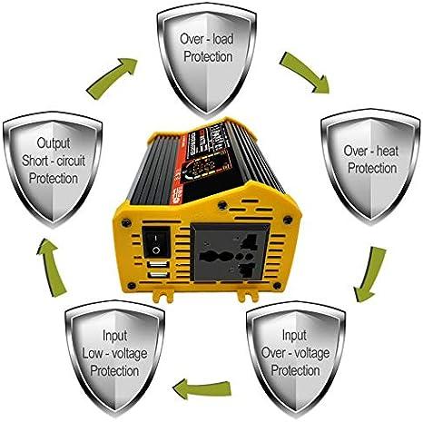 Yellow,12V to 220V HoganeyVan Dual USB Smart Display Car Power Inverter Converter Adapter 6000W Voltage Transformer Modified Sine Wave
