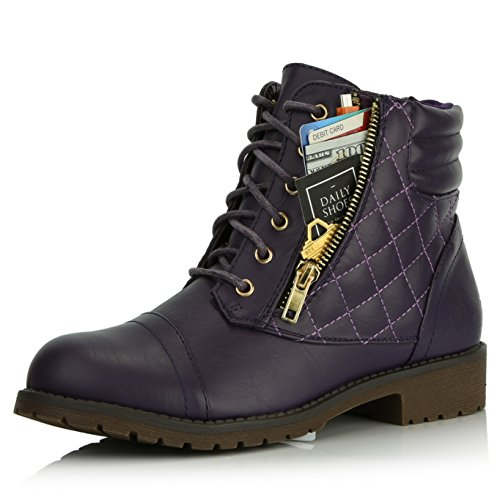 DailyShoes Women's Military Lace Up Buckle Combat Boots Ankle High Exclusive Credit Card Pocket, Purple Pu, 10