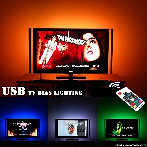 LED TV Backlight Bias Lighting Behind 60 65 70 Inch HDTV   USB LED Light Strip TV Wall Mount Movie Theater Decor Mood Lights, RF Remote, 20 Colors, Sync ON/OFF With TV Dynamic Contrast Control