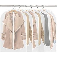 Housses de Vêtements,Sacs de Protection PEVA Anti-Poussière Transparent Housse Costume avec zip Lot de 6