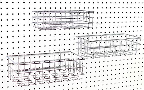 Pegboard Baskets, Set of 3 Chrome - Hooks to Any Peg Board - Square Style Baskets Hold More - Organize Tools, Workbench, Accessories, Garage Storage - Wall Organizer Attachments
