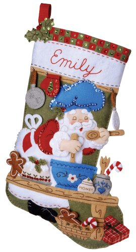 Bucilla 18-Inch Christmas Stocking Felt Appliqué Kit, 85435 Santa Chef