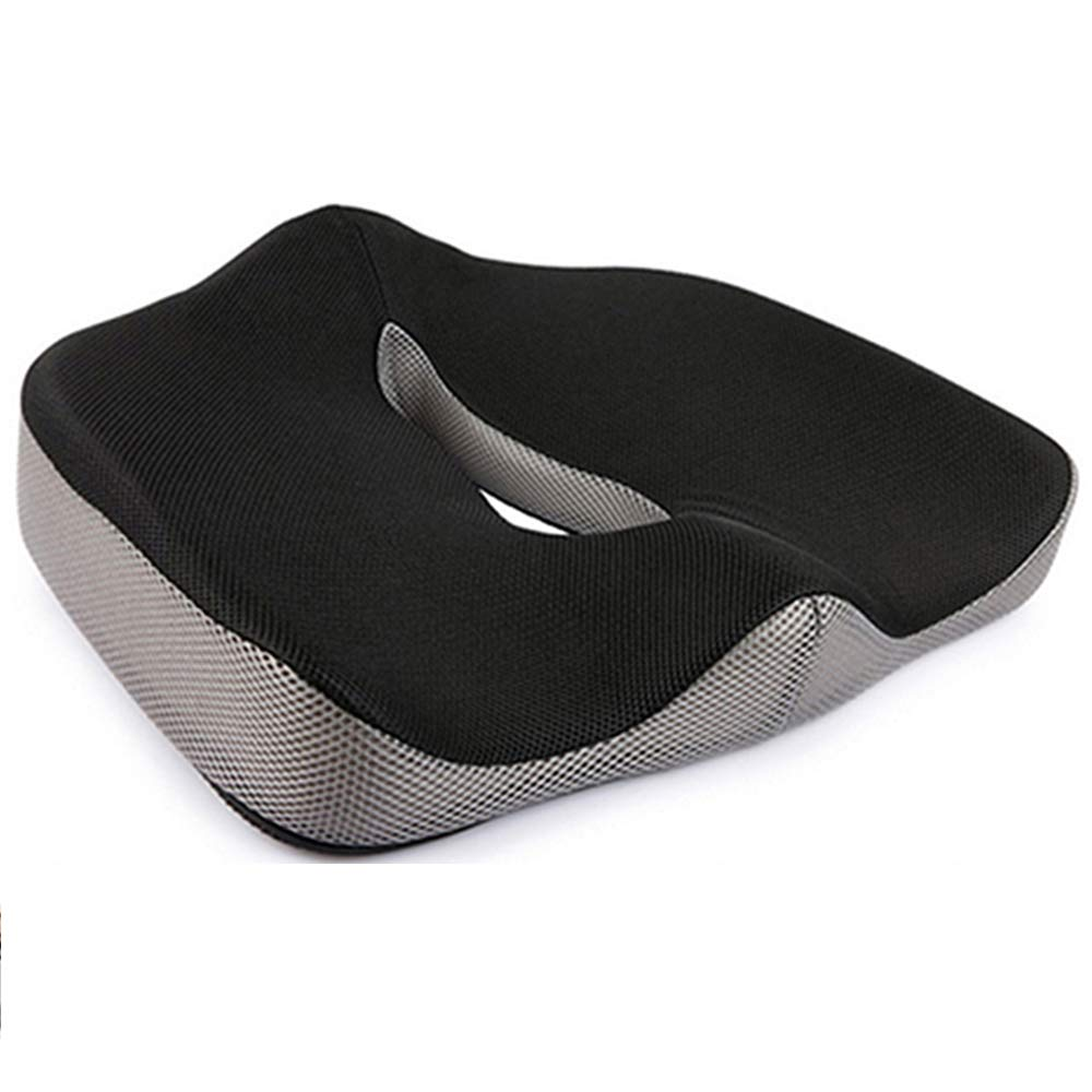 3D Surround Memory Foam Seat Cushion with Non-Slip Bottom Ergonomic Orthopedic Design for Relieves Pain of Back Tailbone Pain Osteoarthritis Suitable for Office Chair Wheelchair Car Seat Airplane Seat Black