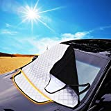 Car Windscreen Snow Cover, FREESOO Windshield Frost Covers Anti Foil Ice Dust Sun Aluminum Shield Screen Protector in All Weather Big 190cm*126cm