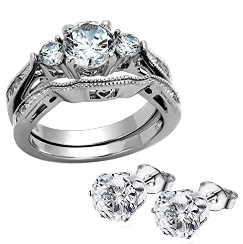 FlameReflection White Stainless Steel Women Wedding Ring Sets Bridal Engagement Bands Round Cubic Zirconia CZ Three 3 Stones Vintage Style Plus Matching CZ Stud Earrings ()