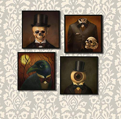 Gothic Coasters - Halloween Coaster Set - Victorian - Steampunk - Skull - Raven - Headless Horseman - Eyeball Man - Skull - -