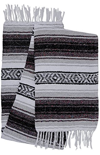 El Paso Designs Genuine Mexican Falsa Blanket – Yoga Studio Blanket, Colorful, Soft Woven Serape Imported from Mexico (Black and Gray) For Sale