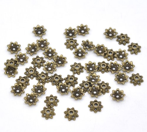 150PC Antique Bronze Bead End Caps 8x3mm Bead Caps Beading Supplies from PEPPERLONELY