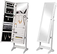 SortWise™ Lockable Free Standing Wooden Jewelry Cosmetic Cabinet, Full Length Floor Tilting Jewelry Armoire wi