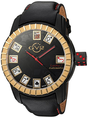 GV2-by-Gevril-Mens-Lucky-7-Automatic-Stainless-Steel-and-Leather-Casual-Watch-ColorBlack-Model-9305