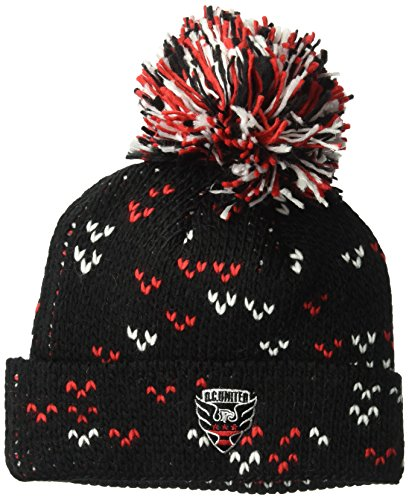 (adidas MLS D.C. United Women's Fan Wear Cuffed Pom Knit Beanie, One Size, Black )