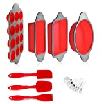Silicone Baking Molds, Pans and Utensils (Set of 13) by Boxiki Kitchen | Silicone Cake Pan, Brownie Pan, Loaf Pan… 9 8-IN-1 CONVENIENCE – Ultimate kitchen versatility, bake your favorite treats with this 13-piece professional grade silicone baking mold set: round cake pan, square brownie pan, banana bread/meatloaf pan, muffin tin, 3 utensils and 6 measuring spoons. SAFE NON-STICK SILICONE BAKEWARE – Textured surface for ultimate easy-release performance; BPA-free and non-toxic; safe for use in oven, freezer; dishwasher safe. KEEPS PERFECT SHAPE – Even after hundreds of uses, thanks to durable high quality steel frame; resists bending, warping and sagging, provides maximum service life; stain and odor resistant.