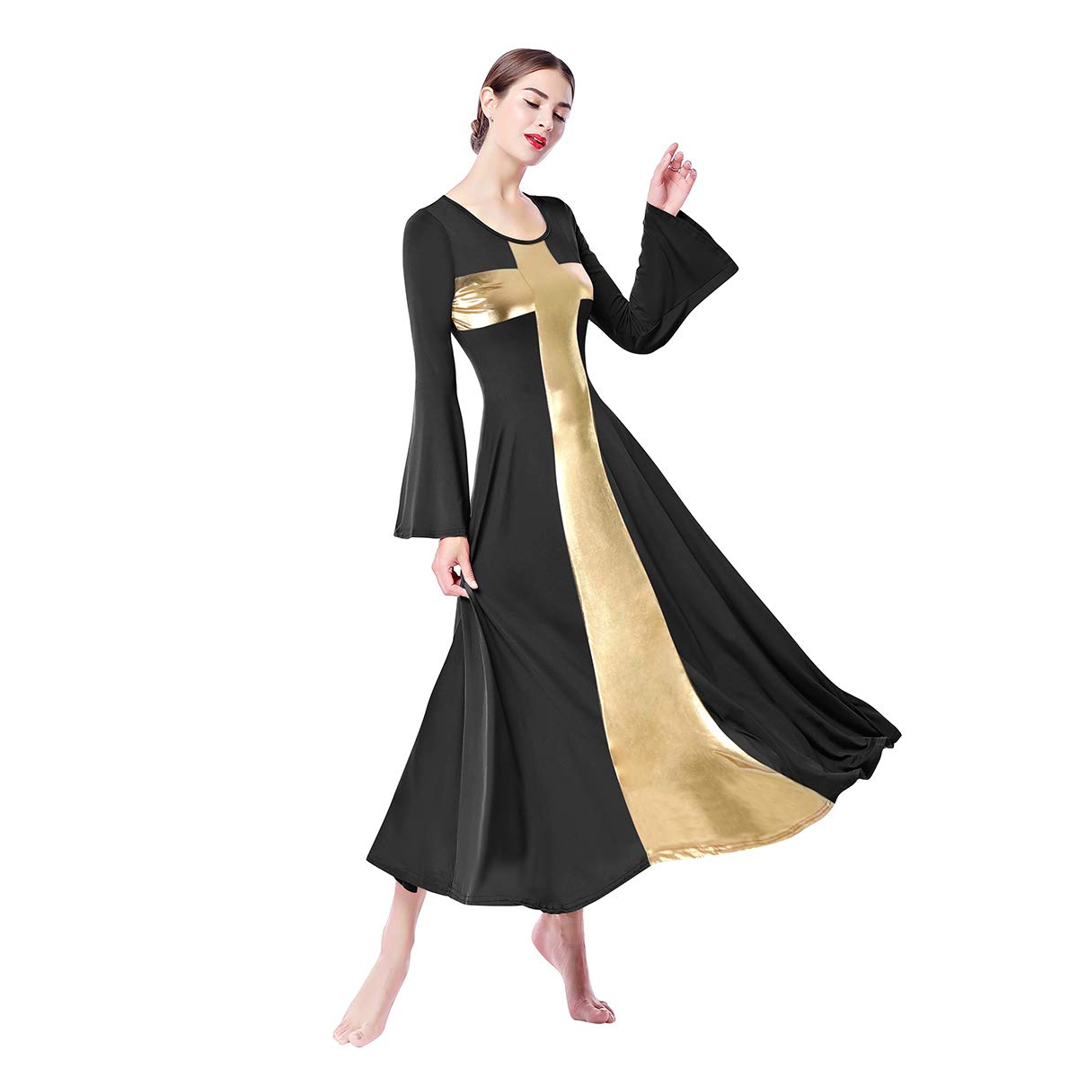 facdfc61a Amazon.com: Womens Metallic Color Block Liturgical Dancewear Praise Robe  Cross Workout Dance Dress Long Sleeve Costume: Clothing