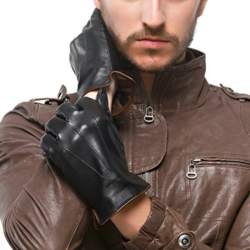 Nappaglo Men's Genuine Touchscreen Nappa Leather Gloves Driving Winter Warm Mittens (M (Palm Girth:8''-8.5''), Black (Touchscreen)) by Nappaglo