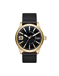 Diesel Men's DZ1801 Rasp Gold Black Leather Watch