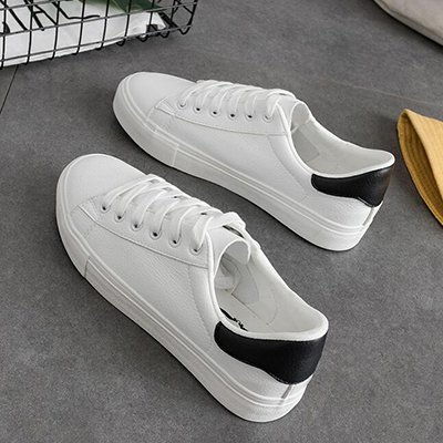 NGRDX&G Calzado Deportivo Mujer Primavera Zapatos De Cuero Pu Blanco Ventilación Zapatos De Mujer Mujer White Black