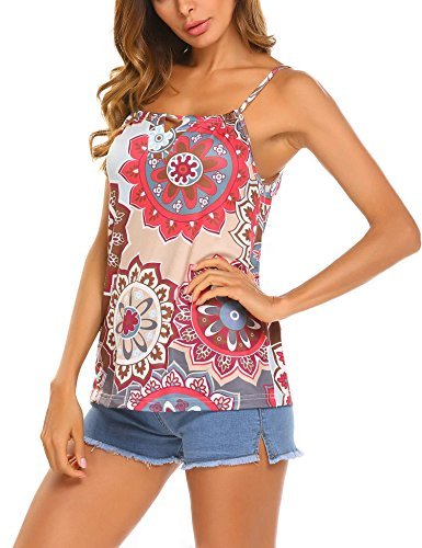 SoTeer Womens Camisoles Floral Print Straps Tank Tops Pattern 2 L - Cotton Floral Camisole