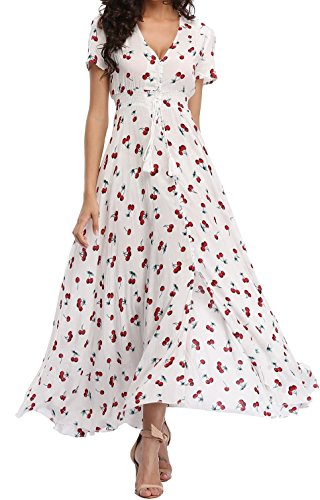 Mussin Women's Button Up Split Floral Print Long Maxi Summer Dress, Size L, Cherry White