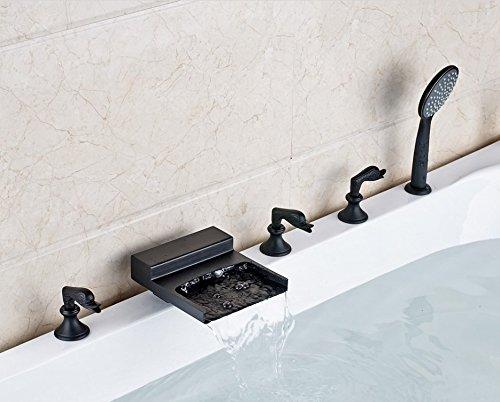 Gowe New Waterfall Spout Bathroom Tub Faucet Deck Mounted Sink Mixer Tap Oil Rubbed Bronze Finished 1