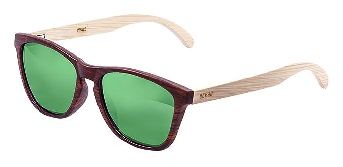 Ocean Sunglasses Sea Lunettes de Soleil Mixte Adulte, Brown Frame/Wood Dark Arms/Revo Green Lens