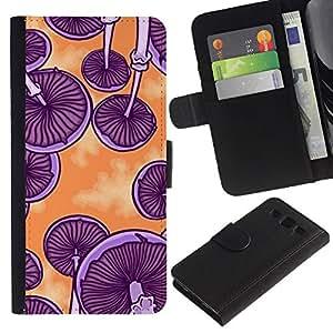 TORNADOCOVER (No Para S3 Mini) Diseño Trasera Imagen Cuero Voltear Tarjeta Ranura Duro Funda Negro Borde Carcasa Case Cover Skin para Smartphone Samsung Galaxy S3 III I9300 - setas naranja púrpura arte psicodélico