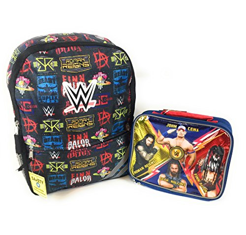 WWE John Cena 16 Backpack and Insulated Lunch Box Roman Reigns Finn Balor 2 Piece Combo by AccInn