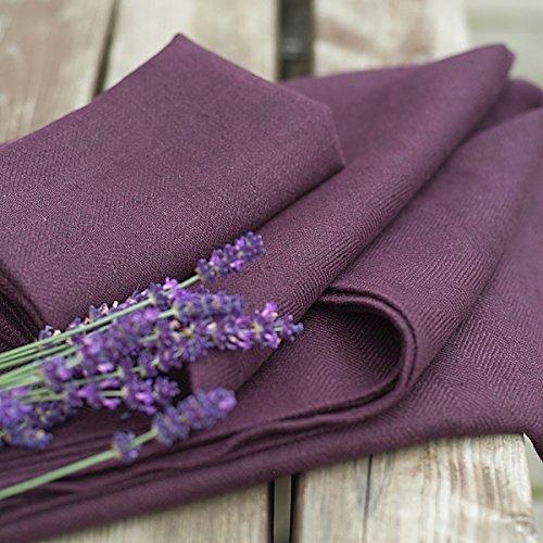 LinenMe Linen Lara Bath Towels (Set of 4), 39 x 55, Aubergine by LinenMe (Image #2)