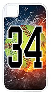 Flaming Softball Sports Fan Player Number 34 White Rubber Hybrid Tough Case Decorative iPhone 5/5s Case
